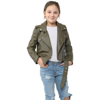 A2Z Trendz Kids Jackets Girls Designer's PU Leather Khaki Jacket Fashion Zip Up Biker Trendy Belted Coat Overcoats New Age 5 6 7 8 9 10 11 12 13 Years