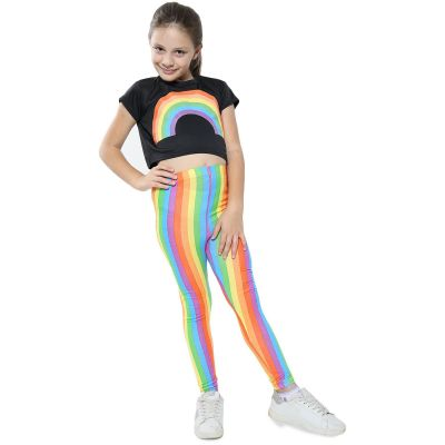 A2Z Trendz Kids Girls Crop Top Designer's Rainbow Print Black Tops Trendy Floss Fashion Belly Shirt Trendy T Shirt Tees New Age 5 6 7 8 9 10 11 12 13 Years