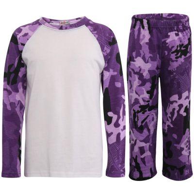 Kids Girls Boys Pyjamas Camouflage Purple Cotrast Sleeves Stylish Nightwear PJS.