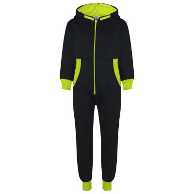 A2Z Trendz Kids Girls Boys Neon Green Contrast Fleece Onesie All In One Jumsuit Playsuit Nightwear New Age 2 3 4 5 6 7 8 9 10 11 12._13 Years