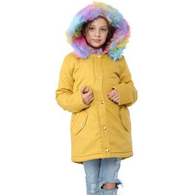 A2Z Trendz Kids Hooded Jacket Girls Rainbow Faux Fur Mustard Parka School Jackets Outwear Coat New Age 2 3 4 5 6 7 8 9 10 11 12 13 Years
