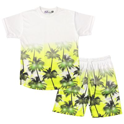 A2Z Trendz Kids Boys T Shirt Shorts Palm Trees 3D Gradient Print Fade Two Tone Tees Fashion Yellow Top Summer Short Set Age 5 6 7 8 9 10 11 12 13 Years