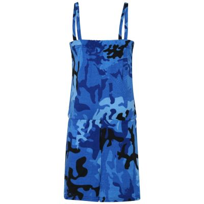 Kids Girls Camouflage Blue Color Playsuit Trendy All In One Jumpsuit 5-13 Years