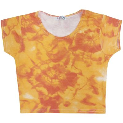 A2Z Trendz Kids Girls Crop Tops Tie Dye Print Orange Stylish Fahsion Trendy T Shirt Tank Top & Tees New Age 5 6 7 8 9 10 11 12 13 Years