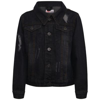 Kids Boys Denim Jackets Black Ripped Fashion Faded Jeans Jacket Stylish Coats.