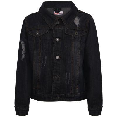 Kids Boys Denim Jackets Black Ripped Fashion Faded Jeans Jacket Stylish Coats.