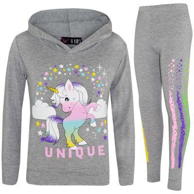 A2Z Trendz Kids Girls Dabbing Unicorn Unique Tracksuit Designer's Rainbow Floss Hooded Grey Top & Legging Lounge Wear New Age 7 8 9 10 11 12 13 Years