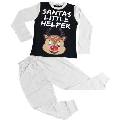 A2Z Trendz Kids Girls Boys Pyjamas Santas Little Helper Reindeer Print Stylish White Contrast Sleeves Pajamas Xmas Set New Age 2 3 4 5 6 7 8 9 10 11 12 13 Years