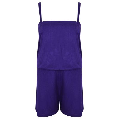 Kids Girls Plain Purple Color Playsuit Trendy All In One Jumpsuit New Age 5-13 Y