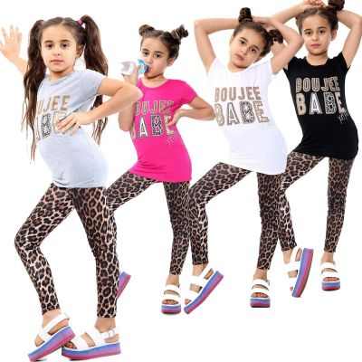 Girls Outfits Boujee Babe Print Top Tees & Leopard Legging Sets.
