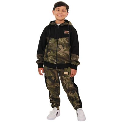 A2Z Trendz Kids Boys Girls Tracksuit Designer's A2Z Badged Camouflage Green Contrast Panel Hooded Top Botom Jogging Suit Age 5 6 7 8 9 10 11 12 13 Years
