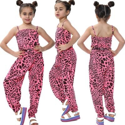 Kids Girls Jumpsuit Leopard Print Neon Pink Trendy Fashion All In One Playsuits