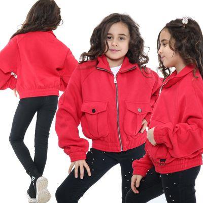 Kids Girls Plain Zip Up Cropped Jackets Red Fleece Stylish Utility Pockets Jackets Fashion Thick Coats.