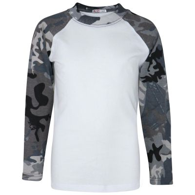 A2Z Trendz Kids Boys Girls Camo Charcoal T Shirts Designer's 100% Cotton Plain Baseball Long Raglan Sleeves Team Sports Tee Soft Feel Casual T-Shirts New Age 2 3 4 5 6 7 8 9 10 11 12 13