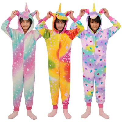 A2Z Trendz Kids Girls Unicorn Onesie Extra Soft Fluffy Stars Print All In One Halloween Costume New Age 2 3 4 5 6 7 8 9 10 11 12 13 Years