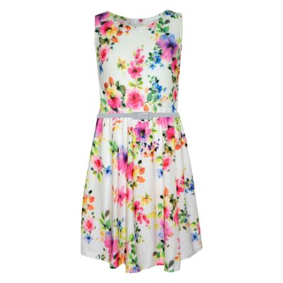 Girls Skater Dress Kids Pink & Purple Floral Abstract Belted Summer Party Dance Dresses Age 2 3 4 5 6 7 8 9 10 11 12 13 Years