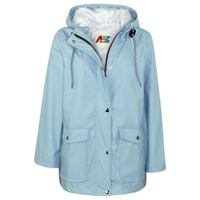 A2Z Trendz Kids Girls Boys PU Raincoat Jackets Designer's Dusty Blue Windbreaker Waterproof Cagoule Hooded Rainmac Shower Resistant Coats Age 5 6 7 8 9 10 11 12 13 Years