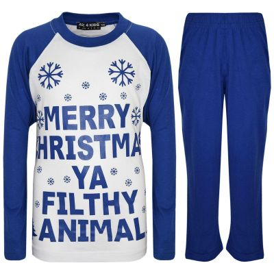 A2Z Trendz Kids Girls Boys PJS Merry Christmas Ya Filthy Animal Print Royal Blue Christmas Pajamas Set Age 2 3 4 5 6 7 8 9 10 11 12 13 Years