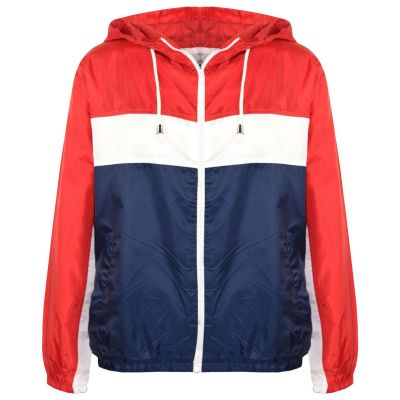 A2Z Trendz Kids Girls Boys Windbreaker Jackets Designer's Contrast Block Red Hooded Zipped Light Weight Kagoul Raincoats Rain Mac Age 5 6 7 8 9 10 11 12 13 Years