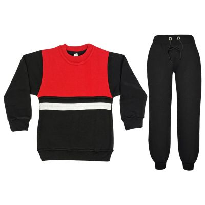 A2Z Trendz Kids Girls Boys Tracksuit Designer's Contrast Panelled Fleece Top & Bottom Black Workout Running Jogging Suit Sportswear Gymwear Jogger Age 3 4 5 6 7 8 9 10 11 12 13 Years