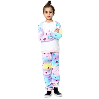 Kids Girls Boys Pyjamas Stars Print Loungewear Flannel Fleece Nightwear PJS.