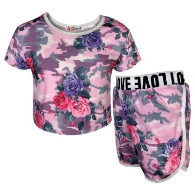 A2Z Trendz Kids Girls Shorts Set Camouflage Baby Pink Floral Print Trendy Fashion Summer Outfit Crop & Short New Age 7 8 9 10 11 12 13 Years