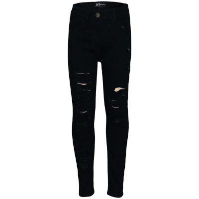 Kids Girls Stretchy Jeans Jet Black Denim Ripped Faded Fashion Skinny Jeggings
