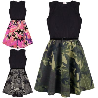 A2Z Trendz Girls Skater Dress Kids Designer's Camouflage Contrast Panel Summer Party Dresses With A Free Belt Age 5 6 7 8 9 10 11 12 13 Years