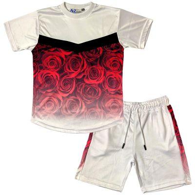 A2Z 4 Kids Kids Boys Girls T Shirt Short Set Designer's Flower Two Tone Fade Gradient Print Red T-Shirt Top Tees & Shorts Set Age 5 6 7 8 9 10 11 12 13 Years