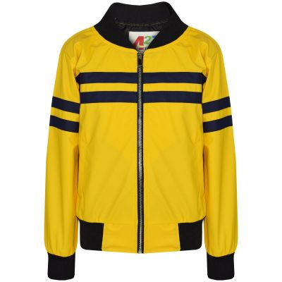 A2Z Trendz Kids Boys PU Leather Jackets Contrast Striped Mustard Zip Up Mock Neck Varsity Baseball Fashion School Jacket Bikers Coats New Age 5 6 7 8 9 10 11 12 13 Years