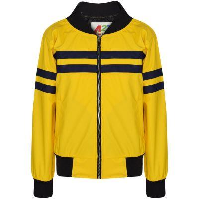 A2Z Trendz Kids Boys PU Leather Jackets Contrast Striped Mustard Zip Up Mock Neck Varsity Baseball Fashion School Jacket Bikers Coats New Age 5 6 7 8 9 10 11 12 13 Years