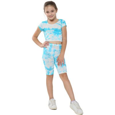 A2Z Trendz Kids Girls Crop Top & Cycling Shorts Blue Tie Dye Print Trendy Fashion Summer Clothing Outfit Crop & Short Sets New Age 5 6 7 8 9 10 11 12 13 Years