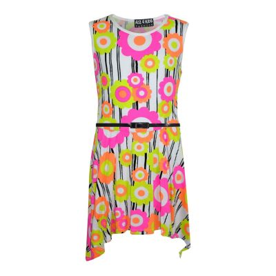 Girls Skater Dress Kids Neon Floral Print Summer Party Dresses Age 7 8 9 10 11 12 13 Years