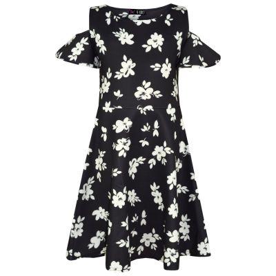 A2Z Trendz Kids Girls Skater Dress Designer's Floral White Summer Party Fashion Dresses New Age 2 3 4 5 6 7 8 Years