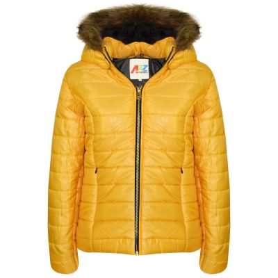 A2Z Trendz Kids Girls Jacket Mustard Puffer Hooded Padded Quilted Faux Fur Detachable Hood Warm Thick Coats New Age 5 6 7 8 9 10 11 12 13 Years