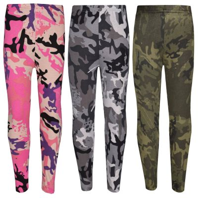Kids Girls Legging Designer's Camouflage Print Trendy Fashion Leggings 5-13 Year