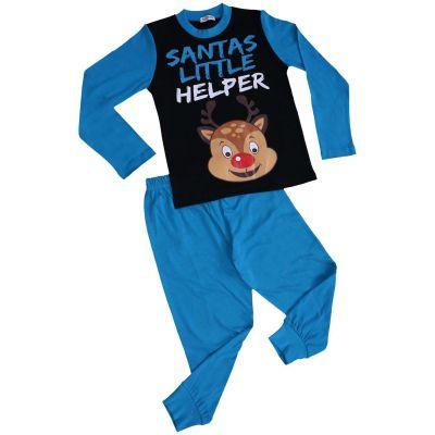 A2Z Trendz Kids Girls Boys Pyjamas Santas Little Helper Reindeer Print Stylish Blue Contrast Sleeves Pajamas Xmas Set New Age 2 3 4 5 6 7 8 9 10 11 12 13 Years