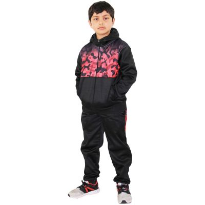 A2Z Trendz Kids Girls Tracksuit Red Camouflage Panelled Hooded School Fashion Zipped Top & Bottom Gym Wear Workout Jogging Suit Sports Joggers New Age 5 6 7 8 9 10 11 12 13 Years