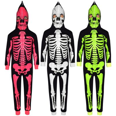 Kids Girls Boys Skeleton Print Halloween Onesie
