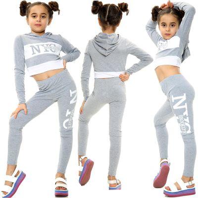Kids Girls NYC Brooklyn Printed Grey Hooded Crop Top Legging Outfit Sets.