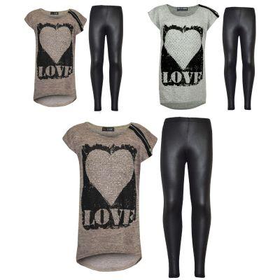 Kids Girls LOVE Printed Trendy Top & Fashion Wetlook Legging Set Age 7 8 9 10 11 12 13 Years