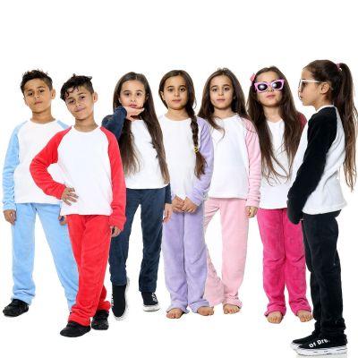Girls Boys Plain Pyjamas Set Loungewear Flannel Fleece Nightwear PJS.