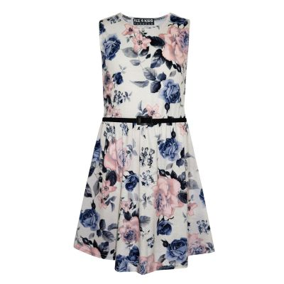 Girls Skater Dress Kids Ivory & Blue Floral Abstract Belted Summer Party Dance Dresses Age 7 8 9 10 11 12 13 Years