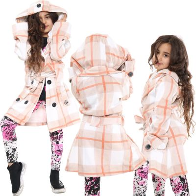 Kids Girls Hooded Trench Coat Fashion Warm Stone Check Jacket Oversized Lapels Belted Cuffs Long Overcoat.