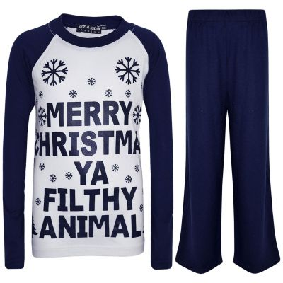 A2Z Trendz Kids Girls Boys PJS Merry Christmas Ya Filthy Animal Print Navy Christmas Pajamas Set Age 2 3 4 5 6 7 8 9 10 11 12 13 Years