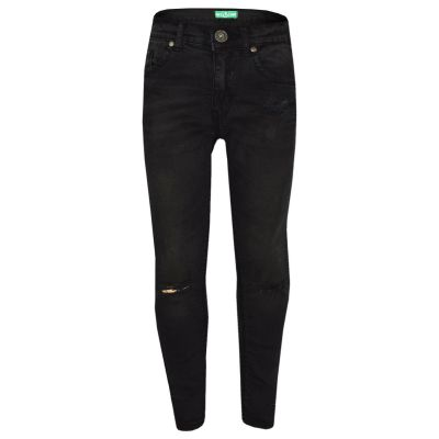 Girls Stretchy Jeans Kids Jet Black Denim Ripped Pants Frayed Trousers Age 5-13 Year