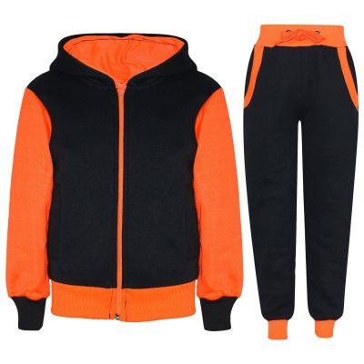A2Z Trendz Kids Girls Tracksuit Designer Plain Contrast Black & Neon Orange Fleece Hooded Hoodie Bottom Jogging Suit Joggers Age 2 3 4 5 6 7 8 9 10 11 12 13 Years