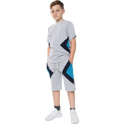 A2Z Trendz Kids Girls Boys Shorts Set 100% Cotton Contrast Panelled Grey Trendy Fashion Summer T Shirt Top & Short Pants Gymwear Outfit Clothing Sets Age 5 6 7 8 9 10 11 12 13 Years