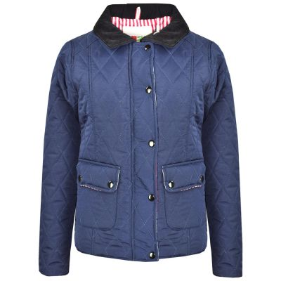 A2Z Trendz Kids Jackets Girls Navy Designer's Quilted Padded Collar Buttoned Zipped Jacket Warm Thick Coats Age 5 6 7 8 9 10 11 12 13 Years