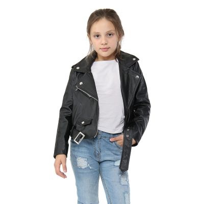 A2Z Trendz Kids Jackets Girls Designer's PU Leather Black Jacket Fashion Zip Up Biker Trendy Belted Coat Overcoats New Age 5 6 7 8 9 10 11 12 13 Years